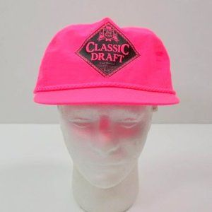 VTG Old Style Draft Neon Hot Pink Adjustable Hat